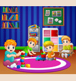 children playing with toys in playroom of kinderga vector image