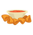 chips made potatoes nachos and sauce in bowl vector image
