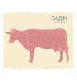cow farm animal silhouette vintage symbol cow on vector image vector image