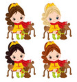 cute little girls with dogs vector image