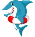 cute shark cartoon with inflatable ring vector image