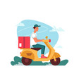 delivery courier on scooter moped with parcel vector image vector image