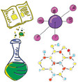 drawn picture with chemistry stuff vector image vector image