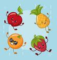 emotions kawaii fruits vector image vector image