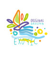 exotic logo original design summer travel vector image vector image