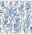 floral seamless pattern flowering vector image vector image