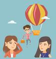hardworking employee flying away on a balloon vector image vector image