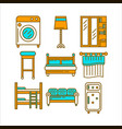 home room furniture interior accessories and vector image