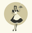housewife carrying a tray with dinner retro style vector image vector image