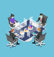 isometric business team meeting with clear glass vector image vector image