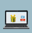 laptop noteebok with green gift box online vector image vector image