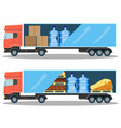 large delivery truck with water bottles cardboard vector image