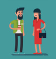 man and woman smiling bearded guy with coffee and vector image vector image