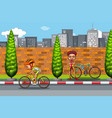 man riding bike in city vector image