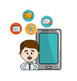 man with smartphone technology tools icons vector image