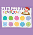 math fraction education worksheet vector image