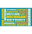 Michigan state cities list vector image vector image