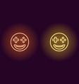 neon emoji gamer glowing sign emoji icon vector image