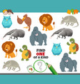 one a kind game for kids with cartoon animals vector image vector image