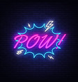 pow neon text comic lettering pow neon vector image vector image