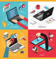 programmer concept 4 isometric compositions vector image vector image