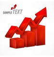 Red chart with arrow on white vector image vector image