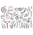 rough doodle elements for valentines day vector image vector image
