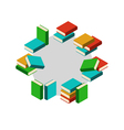 Set of stacks of colored books in circle vector image