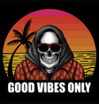 skull beach vacation vector image vector image