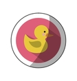 sticker color silhouette with yellow duck bath in vector image