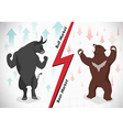 Stock market concept bull and bear vector image vector image