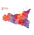 stylized map of the italian island of sicily vector image vector image