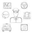 Taxi driver and service icons sketch vector image vector image
