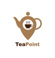 tea location icon map pointer with teacap icon vector image vector image
