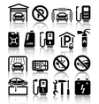 Transport service set of black icons vector image