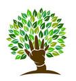 tree hand symbol logo vector image