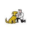 Veterinarian Vet Kneeling With Pet Dog Cartoon vector image vector image