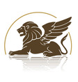 winged lion emblem vector image vector image