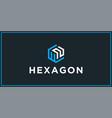 wn hexagon logo design inspiration vector image vector image