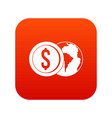world planet and dollar coin icon digital red vector image