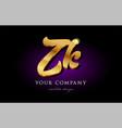 zk z k 3d gold golden alphabet letter metal logo vector image vector image