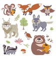 happy cartoon and funny wood animals in forest vector image