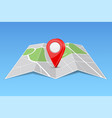 abstract map paper folded with location marker vector image vector image