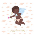 african cupid aiming arrow of love vector image vector image