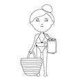 beautiful woman with handle bag and cocktail vector image
