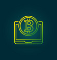 bitcoin coin with laptop green line icon or vector image vector image