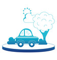 blue silhouette taxi car service in the city with vector image vector image