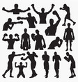 boxing silhouettes 1 vector image vector image