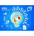 bright bulb and head phone on blue backgroun vector image vector image