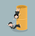 businesswoman helps friend to climb a coin vector image